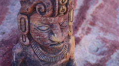 Mayan Serpent Statue Close Up Head Stock Footage
