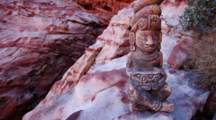 Mayan Serpent Statue in Front of Cave Close Up Stock Footage