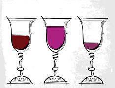 glasses of wine illustration - stock illustration