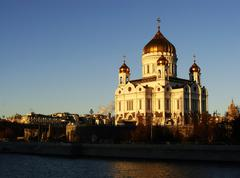 cathedral of christ the saviour in early morning, moscow, russia - stock photo
