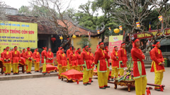 People in traditional costume palanquin procession holy Stock Footage
