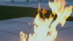 Modern fire pit burning. Stock Footage