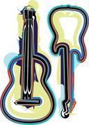 abstract guitar illustration - stock illustration