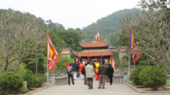 Tourists visiting the temple Stock Footage