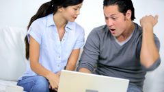 Young Ethnic Couple Laptop Successful Financial Planning - stock footage