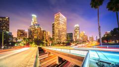 Downtown Los Angeles city traffic at night. 4K Timelapse. Stock Footage