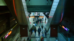 People hurry in Metro station in Vienna,Austria. Time lapse. Stock Footage