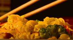 Pasta turn slow 3 chopsticks Stock Footage