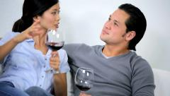 Asian Chinese Couple Relaxing Glass Wine Home Move Unpacking Stock Footage