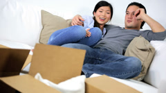Young Asian Chinese Couple Sofa Making Plans New Home Stock Footage