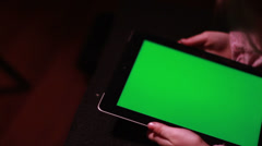 Child with Tablet Device, Green Screen Stock Footage