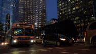 Stock Video Footage of Night City Street - Busy Crossroad - Traffic And People - 01