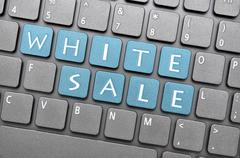 White sale on keyboard Stock Illustration