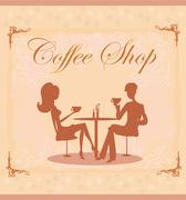 Silhouettes of couple sitting in cafe Stock Illustration