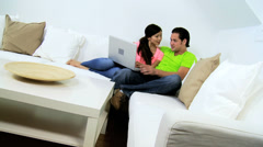 Happy Asian Chinese Couple Wireless Laptop Websites - stock footage