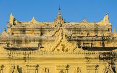 burmese temple roof sculpture - stock photo
