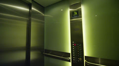 Interior view of an elevator with doors opening. No people. Stock Footage