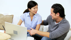 Asian Chinese Couple Home Laptop Successful Financial Planning Stock Footage