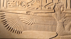 Stock Video Footage of Egyptian carving of Goddess Maat, tracking