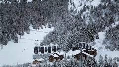 Four gondolas in winter landscape Stock Footage