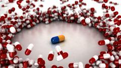 Falling Drugs with Hero Pill - Pharmaceutical Stock Footage