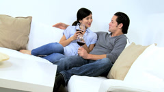 Young Ethnic Male Female Relaxing Home Drinking Glass Wine - stock footage