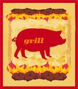 Stock Illustration of pig grunge poster - grill menu card design template.