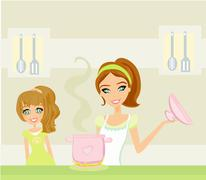 daughter looking at her mother cooking - stock illustration