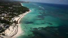 Aerial View on Punta Cana Resorts and Sea Stock Footage