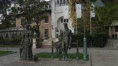 Monument to work Chehov Lady with a doggy in Yalta - stock footage