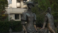 Stock Video Footage of Monument to work Chehov  Lady with a doggy in Yalta