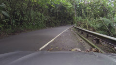 Traffic drive El Yunque National Park Rainforest road POV HD 0243 Stock Footage
