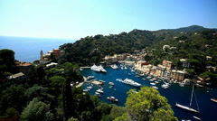 Yacht Leaving Luxury Port in Italy, Portofino Stock Footage