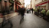 Stock Video Footage of Old European city street with walking people time lapse footage