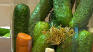Stock Video Footage of Homemade pickles, sour cucumbers, healthy vegetables canned for winter