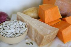 ingredients for pumkin cream soup - stock photo