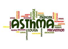 asthma word cloud - stock illustration