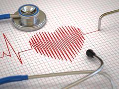 Stethoscope and ecg cardiogram. medicine concept, Stock Illustration