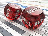 Stock Illustration of stock market concept. dice on financial graph.