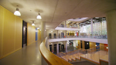 Interior view of a large modern university building. No people. Stock Footage