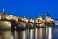Stock Photo of vltava river, charles bridge and old town bridge tower in prague