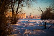 Stock Photo of church and frozen river