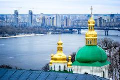 Onion steeples of lavra monastery in kiev Stock Photos