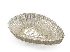 silver handmade filigree basket - stock photo