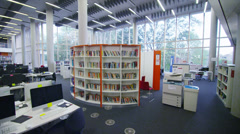 Interior view of the library in a large modern university building. No people - stock footage