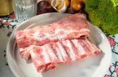 Pork ribs with vegetable Stock Photos