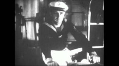 WW2 - Admiral Graf Spee - Firing Artillery 01 - stock footage