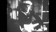 Stock Video Footage of WW2 - Admiral Graf Spee - Firing Artillery 01