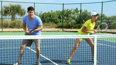 Young Caucasian Male Female Tennis Coach Player Stock Footage