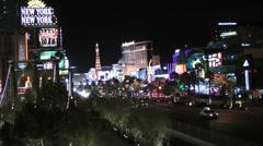 World famous Vegas Strip in Las Vegas on CIRCA 2014 Stock Footage